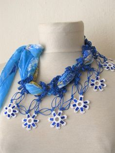 YEMENI  necklace  Cerulean bluewhite mixedmulticolor by asuhan, $27.90