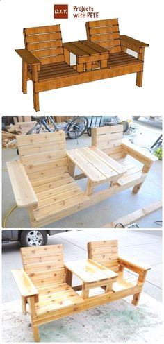 Plans of Woodworking Diy Projects - DIY Double Chair Bench with Table Free Plans Instructions - Outdoor Patio #Furniture Ideas Instructions Get A Lifetime Of Project Ideas & Inspiration!  #WoodworkDIY