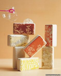 After creating these pretty, pattern-wrapped soaps as a gift, make a few extra sets to have on hand for unexpected guests.