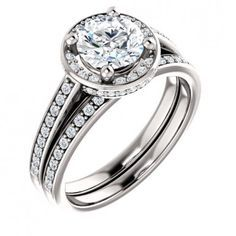 14kt White Gold 6 5mm Round Center Stone Cubic Zirconia For 1ct And 56 Side Bridal Ring Setsbridal