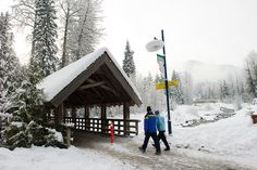 Taking a snowy stroll over Fitzimmons Creek. by GoWhistler, via Flickr #whistler #robpalmwhistler  #outdoor sports