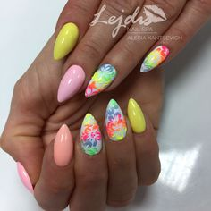 Nail Art Designs and Colors for Summer Glitter Nail Art, Toe Nail Art, Acrylic Nails, Spring Nails, Summer Nails, Chloe Nails, Vacation Nails, Pretty Nail Art, Neon Nails
