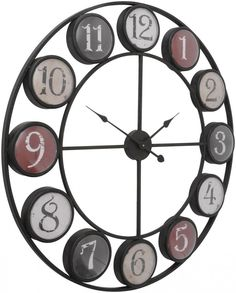 Rust accents add antique character to the aged iron frame of this wonderful Giant Smarty Clock, whose eye-catching display makes a marvellous addition to any decor. Wholesale Furniture, Decorative Accessories, Antiques, Numbers, How To Make, Wall Clocks, Hallways, Circles, Rust