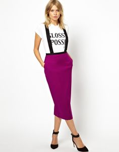 Pencil Skirt with Bold Suspenders