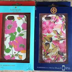 iPhone 5 cases. Tory Burch NIB, Kate Spade iPhone 5 cases!  Tory Burch hardshell-never used. Kate Spade hardshell used minimally. Small smudge mark on the side as shown in the last pic. I think it's ink. Henri Bendel striped one - lots of wear on it and just and off brand clear with dots. I also have a floral soft J.Crew one I will throw in. One of my favorites!! Tory Burch Accessories Phone Cases