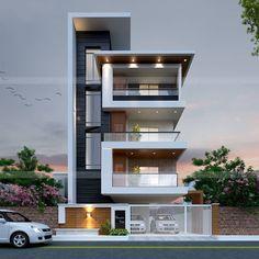 Ideas Dream House Plans Modern Front Elevation For 2019 3 Storey House Design, Bungalow House Design, House Front Design, Modern Small House Design, Modern Exterior House Designs, Exterior Design, Modern House Facades, Modern Architecture House, House Layout Plans