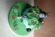 Studio Ghibli Cake.    Birthday cake featuring Totoro, Ponyo, No Face, Tree Spirit & the Dust Sprites.
