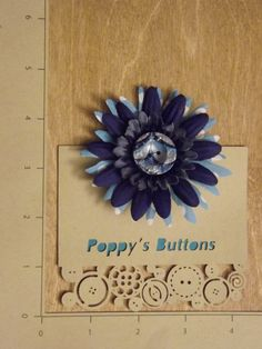 Hand Marbled, Blue Polka Dot Button Flower Barrette/Pin by PoppysButtons on Etsy