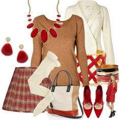 tan/red, created by kloeyblue on Polyvore