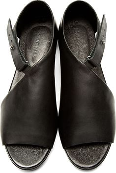 Silent by Damir Doma - Black Leather Siri Sandals