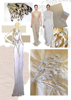 Fashion Sketchbook - fashion design process with research, dress design drawing & butterfly embroidered textile sample; fashion portfolio // Katherine Haigh