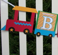 Train Banner  READY to SHIP  adjustable by APaperPlayground, $8.00