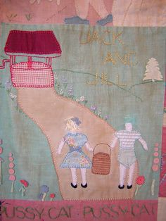 Portion of a vintage nursery rhyme quilt.
