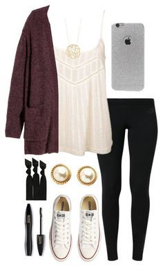 """""""Ootd // I finally found the exact case I have"""" by madelyn-abigail ❤ liked on Polyvore featuring NIKE, Billabong, H&M, Converse, Kate Spade, LA: Hearts, Emi-Jay, Lancôme, women's clothing and women's fashion"""