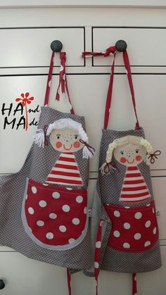 Apron Diy And Crafts, Arts And Crafts, Childrens Aprons, Christmas Aprons, Cute Aprons, Aprons Vintage, Projects For Kids, Rock Art, Applique