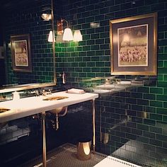 Featuring who has brilliantly incorporated emerald green to his bathroom space, giving it a luxurious and timeless appeal. Swipe left for more. Cleaning Bathroom Tiles, Cozy Bathroom, Bathroom Floor Tiles, Bathroom Styling, Bathroom Ideas, Black Tile Bathrooms, Green Subway Tile, Subway Tiles, Loft