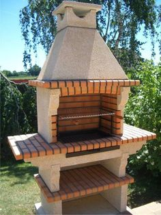 BBQ and ovens-Brick bbq Kits Garden Bbq Ideas, Barbecue Garden, Stone Bbq, Barbecue Design, Brick Bbq, Backyard Fireplace, Decks And Porches, Ovens, Outdoor Living