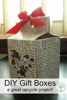 How to make your own gift box from recycled and upcycled materials! Makes a unique gift giving project even kids can do! via /homesteadhippy/ Merry Christmas, Christmas Gift Box, Homemade Christmas, Christmas Stuff, Christmas Decor, Christmas Ideas, Upcycled Crafts, Diy And Crafts, Paper Crafts