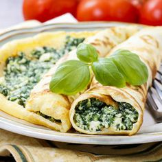 Mediterranean Cuisine Crepes Stuffed Cheese Spinach Stock Photo (Edit Now) 195123662 Crepe Sale, Czech Recipes, Ethnic Recipes, Spinach Dip, Broccoli Recipes, Mozzarella, Kids Meals, Feta, Slow Cooker