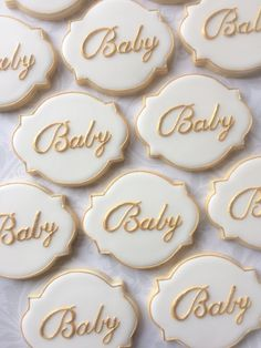 "Elegant White and Gold ""Baby"" script Cookies - One Dozen Decorated Sugar Cookies perfect for Showers"