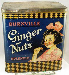 BURNVILLE GINGER NUTS RARE LARGE BRITISH BISCUIT TIN c1925