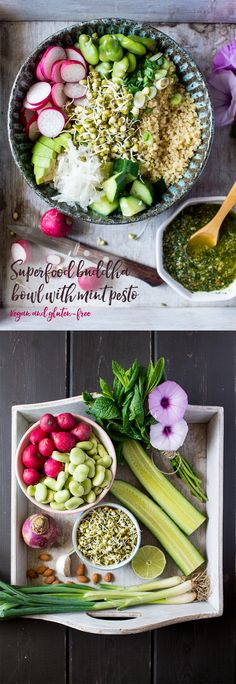 Superfood Buddha bowl with mint pesto. Could this look any healthier ? So pretty and with so many health benefits, we can't wait to try this recipe.