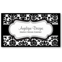 Customizable Elegant Black and White Damask Graphic Designer Business Cards