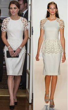 Lela Rose Kate Middleton - superb dress - suggest: loose the peplum and use the fabric to replace email the hem of the dress - much more stylish Kate. Simple Dresses, Beautiful Dresses, Nice Dresses, Casual Dresses, Fashion Dresses, Formal Dresses, Lace Dress, White Dress, Lela Rose