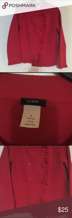 J crew red ruffle cardigan/ peacoat style Thick red cotton fabric, great quality. Cute ruffles J. Crew Sweaters Cardigans