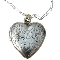 Vintage Sterling Silver Heart Locket Necklace (1.240 CZK) ❤ liked on Polyvore featuring jewelry, necklaces, heart locket, vintage necklaces, vintage flower necklace, initial necklace and sterling silver initial necklace