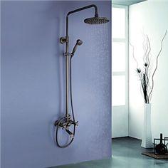 Zeige Details für Antik Messing Badewanne Duschearmatur mit 8-Zoll-Duschkopf + Handbrause