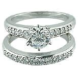 Cubic Zirconia CZ Wedding Ring Bridal Set 1.5 Carat Round & Pave In 14K White Gold By Ziamond.  The Pave Set Bridal Set features approximately 2 carats in total carat weight.  Ziamond offers the finest hand cut and hand polished cubic zirconia cz available in high quality fine jewelry mountings.  $1395 #ziamond #cubiczirconia #cz #weddingset #bridalset #ring #solitaire #matchingset #diamond #engagementring