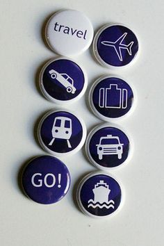Blue and white travel themed flair buttons!$8.00