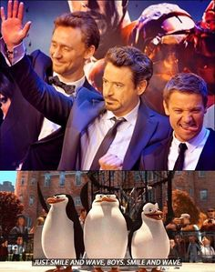 (The Avengers: Robert Downey Jr., Jeremy Renner, and Tom Hiddleston) Just smile and wave boys ;)