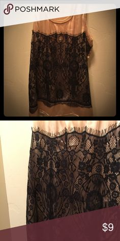 Chic gold and black lace razor back satin tank Adorable, gold satin with black lace detail on front. Razor back, light weight. Non smoking home. Peridot Tops Tank Tops