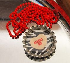 """3 Choices - You Pick-Valentine III 26"""" Ball Chain Bottlecap Necklaces 