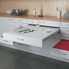 Awesome Kitchen Appliances for Small Spaces with inspiring kitchen : Inspiring Kitchen Marvelous Compact Grey Kitchen With Space Saving Red . Kitchen Furniture, Kitchen Dining, Dining Area, Kitchen Tables, Kitchen Ideas, Kitchen Seating, Dining Rooms, Furniture Design, Room Kitchen