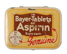 Bayer Aspirin Tin found in Bonnie and Clyde Death Car Bonnie And Clyde Death, Bonnie Clyde, Advertising Signs, Vintage Advertisements, Bonnie Parker, Vintage Tins, Vintage Stuff, Good Ole, Mellow Yellow
