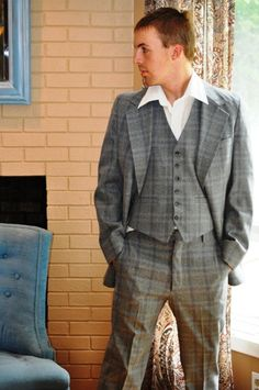 Retro Polyester Suit/ Men's Vintage Hipster by ArmorOfModernMen, $67.75