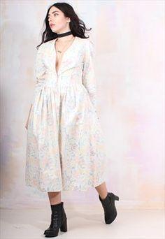 Vintage 80s Rose Print Midi Laura Ashley Dress