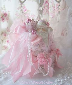 Shabbydazzle Princess Pink Santa Claus Shabby Chic Pearl Jeweled Rose Vintage Pearl White Marie Antoinette Victorian  SCT. $81.00, via Etsy.
