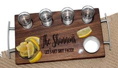 Valentine's Gift for Him, Personalized Shot Flight, Shots Serving Tray, Shot Glass Holder, Tequila S Shot Glass Holder, Glass Holders, Whiskey Shots, Tequila Shots, Valentines Gifts For Him, Fathers Day Gifts, Hardwood Types, Food Grade Essential Oils, Serving Board
