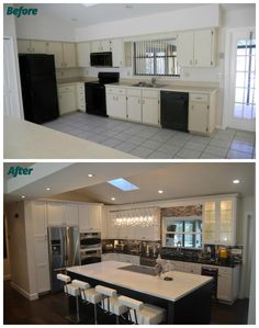 Home Improvement Projects, Home Projects, Kitchen Living, Kitchen Decor, Kitchen Ideas, Space Kitchen, Open Concept Kitchen, Home Remodeling, Home Renovations