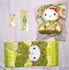 Rare Bear Hello Kitty x Edo Samurai Kamon Plush Strap Towel Sanrio Japan Limited