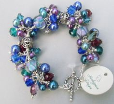 Lampwork bracelet handmade with sterling silver by Harleypaws, $95.00