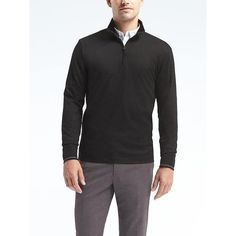 Banana Republic Mens Luxury Touch Half Zip Pullover ($60) ❤ liked on Polyvore featuring men's fashion, men's clothing, men's sweaters, black, mens half zip sweater, banana republic mens sweaters, mens mock neck sweater, mens sweaters and mens 1 2 zip sweater