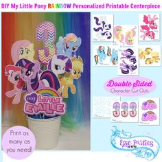 My Little Pony Birthday Printable | My Little Pony Personalized Centerpiece | My Little Pony Decorations | Rainbow | Epic Parties by REVO
