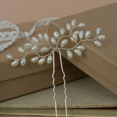 Bud Ivory Pearl Hair Pin Wedding Hair by jewellerymadebyme on Etsy, £20.00