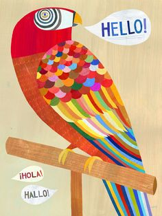 Hello Parrot Canvas Print by twoems on Etsy