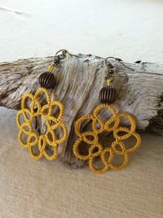 Tatted Flower Earrings $12.50 USD